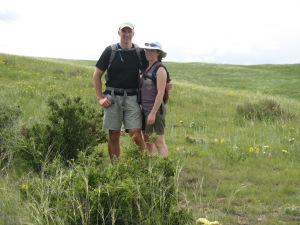 Ted and I hiking at Soapstone Prairie.