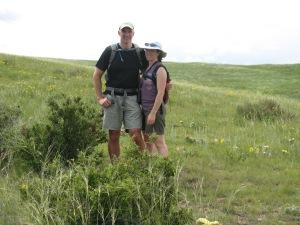 Ted and I hiking at Soapstone Prairie.
