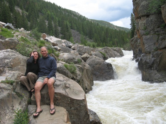A self-timer photo of us and the Pouder River. The water was running high, cold, and fast. We battled mosquitos for a while, hanging out on the rocks and listening to the thundering rapids.