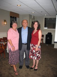 Mom, Dad, and I at the Friday night dinner.