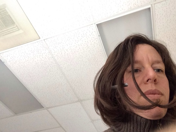 #365feministselfie Take 1: Workday with ceiling tiles.