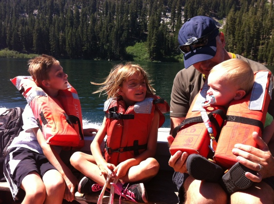 On the Echo Lake boat with new buddies.